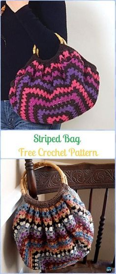 Crochet Striped Bag Free Pattern - Crochet Handbag Free Patterns Instructions