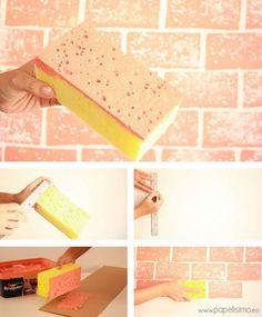Una buena idea para imitar un muro de ladrillo Ingeniosa forma para pintar con forma de ladrillos que hemos visto en la web de referencia papelisimo. Estos son los materiales que necesitas: pintura pl