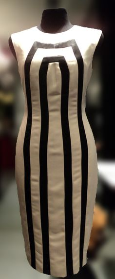 *Sheath Dress with Black Lines by Xernan Orticio at MYTH.