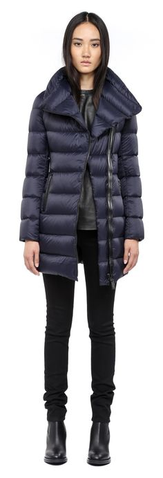 Mackage - YARA INK LONG LIGHT WINTER DOWN JACKET FOR WOMEN WITH LARGE COLLAR