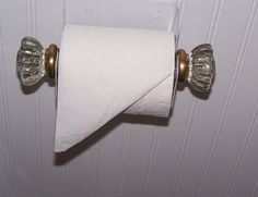 """Glass doorknobs made into a toilet From another pinner: """"paper holder <3 !"""" ~ I have a set like this from the home I grew up in. What a great idea!"""