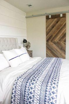 Blue & White Bedroom - DIY Horizontal Board & Batten Wall, DIY Painted Headboard & Bench, DIY Ikea Tarva Hack | One Room Challenge | http://ahouseandadog.com