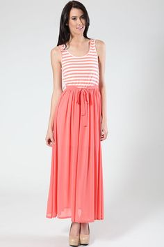 On High Tides Maxi Dress-Coral