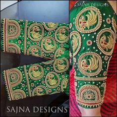 All Ethnic Customization with Hand Embroidery & beautiful Zardosi Art by Expert & Experienced Artist That reflect in Blouse , Lehenga & Sarees Designer creativity that will sunshine You & your Party Worldwide Delivery. Peacock Blouse Designs, South Indian Blouse Designs, Wedding Saree Blouse Designs, Blouse Designs Silk, Peacock Design, Blouse Patterns, Saree Wedding, Maggam Work Designs, Indie