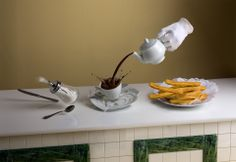 Visual still life composition, made of photography+3d+cgi, for madrid magazine LeCool Madrid representing one of the most typical things at Spanish capital to take chocolate & churros. More info at www.noelialozano.com