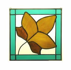 September 12 X 12 Stained Glass Leaf Quilt Block by GommStudios