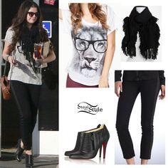 Selena Gomez: Lion Tee, Side Stripe Pants | Steal Her Style