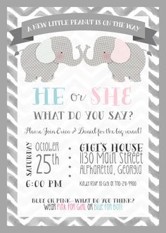 Elephant Theme Gender Reveal - Party Invitation - Elephant Theme - Little Peanut - Printable - He or She - Boy or Girl - Baby - Pink or Blue