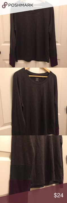 """Toad & Co Shirt Space Dyed Carmina Raglan Pre-owned Toad & Co women's Carmina raglan long sleeve t-shirt size XL extra large. Brown space dyed with blocks of deep purple and hunter green on sleeves. Comfortable and in good condition with no stains, no holes, no rips, no snags. Smoke-free home.  Item: Carmina Raglan LS Item #T1241404  48% Organic Cotton/48% Tencel/4% Spandex Machine wash cold, tumble dry low  Approximate measurements: Armpit to armpit 23"""" Length (shoulder to hem) 26"""" Sleeve…"""
