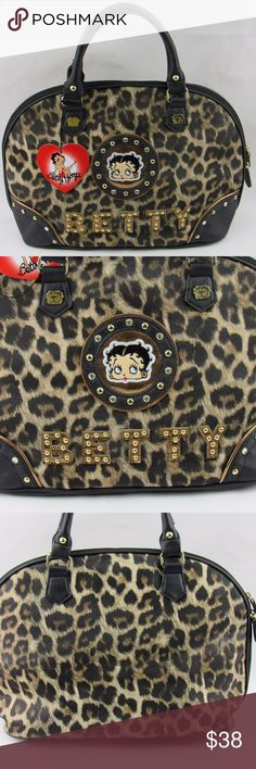"""Betty Boop Leopard Faux Leather Satchel Tote Bags Betty Boop Leopard Faux Leather Satchel Tote Bags Purse. Top Zip Around Closure with rhinestones and studs accents, Rolled Faux Patent Leather Handles, Flat Bottom Design, One Interior Pockets, Soft black inner lining, Approx. Size: 14""""L x 11""""H x 6""""W, Handle Drop Length: 5' - Betty Boop Bags Satchels"""