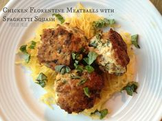 Chicken Florentine Meatballs with Spaghetti Squash on www.PopularPaleo.com