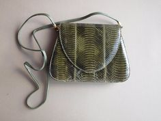 J. Renee snakeskin purse olive green saddlebag hand bag convertible green leather strap clasp purse day or night purse gift 4 her fall color