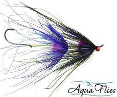 Stu's Rhea Intruder Steelhead Fly Purple/Black Aqua Flies 3 Flies Free Shipping