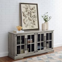 Living Room Cabinets, Living Room Furniture, Living Room Decor, Living Room Hutch, Gray Furniture, Console Cabinet, Cabinet Decor, Farmhouse Tv Stand, Farmhouse Decor