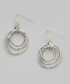 Loving this Silver Triple-Tier Drop Hoop Earrings on #zulily! #zulilyfinds