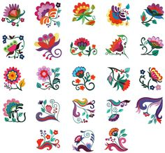 Mexican Embroidery, Hungarian Embroidery, Hand Embroidery, Applique Patterns, Applique Quilts, Applique Designs, Folk Art Flowers, Flower Art, Embroidery Designs