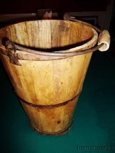 16 in tall wooden well bucket!! has iron wrap with wooden handle!!