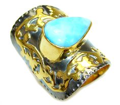 $104.95 Excellent Design AAA Blue Larimar Gold Plated Sterling Silver Ring s. 9 adjustable at www.SilverRushStyle.com #ring #handmade #jewelry #silver #larimar