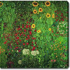 Gustav Klimt 'Garden with Sunflowers' Oil on Canvas Art