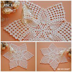PINK ROSE CROCHET: Centrinho Estrela Pineapples Star Doily