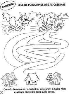 Montessori Activities, Preschool Worksheets, Activities For Kids, Three Little Pigs Story, Coloring Books, Coloring Pages, Mazes For Kids, Pet Day, English Activities