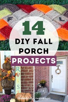 Fall front porch ideas you can make yourself to spruce up your home for Autumn. Fall signs, fall wreaths and other fun fall projects Fall Projects, Diy Craft Projects, Fall Crafts, Home Crafts, Fall Diy, Autumn Fall, Diy Halloween Food, Pumpkin Centerpieces, Upcycled Crafts