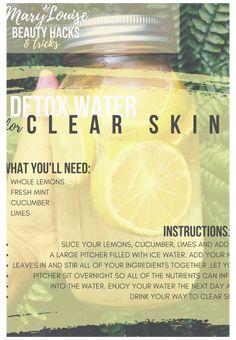 Water Recipes, Detox Recipes, Detox Water For Clear Skin, Smoothie Detox, Detox Soup, Fat Burning Detox Drinks, Detox Your Body, Flat Tummy, Flat Belly