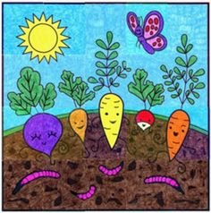 "Happy Vegetable PDF mural template. $8 instant download. 40"" x 40"" when complete. #vegetable #compost #TPT"