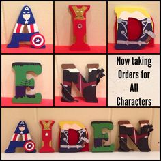 Wood letters painted to look like the Avengers. Set includes: Captain America, Iron Man, Hulk, Thor, and Hawkeye.