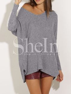 Grey V Neck Loose Sweater 12.99