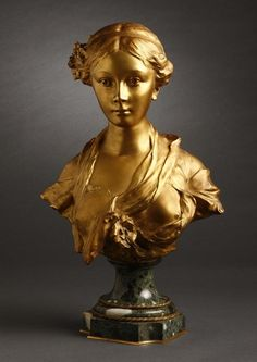 After Julien Monier gilt bronze bust beauty - May 2008 Human Sculpture, Bronze Sculpture, Sculptures, Art Deco, Art Nouveau, Statues, Fields Of Gold, Head Planters, Cement Crafts