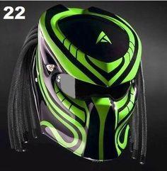 Motorcycle Events, Custom Motorcycle Helmets, Women Motorcycle, Brat Motorcycle, Predator Helmet, Helmet Accessories, Airsoft Helmet, Black Fire, Green Dot