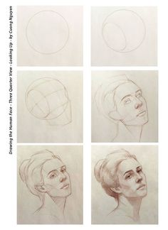 Drawing the human face - Three quarter view - Looking up - By Cuong Nguyen