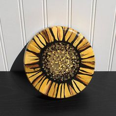 Items similar to Sunflower Wall Hanging or Jewelry, Ring, Coin or Key Dish - Upcycled Wooden Bowl - HandPainted Floral Decor - Flower Bowl by Claudine Intner on Etsy Shades Of Yellow, Yellow And Brown, Flower Bowl, Floral Wall Art, Wood Bowls, Paint Markers, Modern Wall, Wall Art Decor, Decorative Bowls