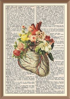 Anatomical Heart with Flowers--Vintage Dictionary Art Print
