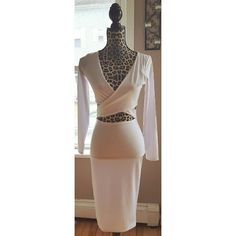 ✖FINAL PRICE✖ White cutout vneck bodycon dress Brand new, retail item! Size small. Dresses Midi