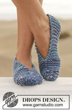 Knitted DROPS slippers in garter st in 2 strands Big Fabel or 4 strands Fabel.