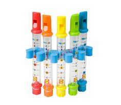 Water Flutes. Fill them with different amounts of water and the pitch changes!