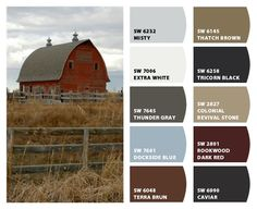 Historic Farm Color Palette- Inspiration for exterior home color scheme, stone accents, and landscaping.  Chip It! by Sherwin-Williams – Home