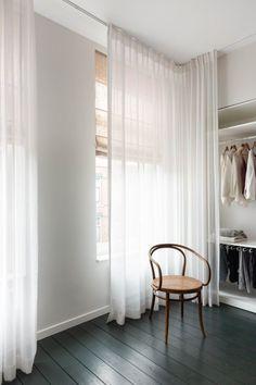 Curtain Wardrobe, Curtain Closet, Luxury Homes Interior, Interior Design, Interior Plants, Vintage Leather Sofa, Natural Stone Countertops, Open Wardrobe, Avenue Design