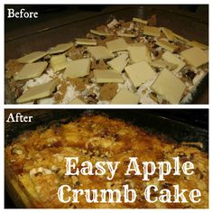 Easy Apple Crumb Cake Recipe - jmade with apples and cake mix. Makes more of a crumble/crisp than an actual cake, according to the comments. Apple Recipes, Sweet Recipes, Cake Recipes, Dessert Recipes, Just Desserts, Delicious Desserts, Yummy Food, Fun Food, Apple Crumb Cakes