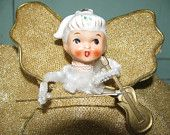 Vintage 1960's Hand Crafted Christmas Tree Topper, Angel, Angelic, retro 60's Xmas classic Holiday decoration, Shabby Chic