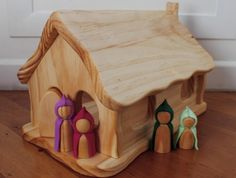 the elves and the wood botherer: gnomes Handmade Wooden Toys, Wooden Diy, Toy Barn, Gnome House, Wooden Dollhouse, Waldorf Toys, Wood Toys, Diy Toys, Wood Projects