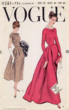 Vogue 9281 I Love Fashion, Fashion Art, Womens Fashion, 1950s Fashion, Vintage Fashion, Vintage Style, Vintage Dresses, Vintage Outfits, Vintage Clothing