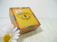 Lovely Old Antique King Edward Specials Cigar Box - Square Vintage Colorful Cardboard Tobacco Box - Funky Cash Box Tobacciana Display Chest $14.00 by DivineOrders