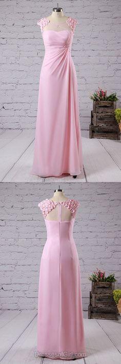 Pink Bridesmaid Dresses, Long Bridesmaid Dress, Pretty Lace Bridesmaid Dresses, A-line Scoop Neck Bridesmaid Dresses, Chiffon Bridesmaid Gowns