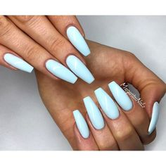 Baby blue coffin nails spring 2016 nail inspo uñas de gel, u Blue Coffin Nails, Blue Acrylic Nails, Acrylic Nail Designs, Nail Art Designs, Nails Design, Coffin Acrylics, Stiletto Nails, Acrylic Summer Nails Coffin, White Nails