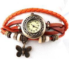 Butterfly Pandent Leather Strap Wrist Watch / Reloj mujer ¡idea para Navidad!