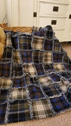 Soft and snuggly flannel and denim rag quilt. Made with blue and green plaid flannel fabric and backed with a nice deep blue denim. Approximately in size. This quilt has been laundered once to begin the ragging process. Plaid Flannel Fabric, Flannel Rag Quilts, Plaid Quilt, Baby Flannel, Shirt Quilts, Crazy Quilt Stitches, Crazy Quilting, Quilting Ideas, Crazy Quilt Tutorials