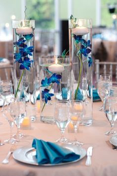 Simple and elegant blue orchid centrepieces shot by Jessie Mary Photography